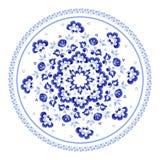 Round kwiecisty element w Rosyjskim ludu stylu Gzhel ilustracja wektor