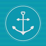 Round label with anchor in shapes of heart. Dash line. Striped b Royalty Free Stock Photography