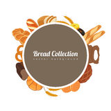 Round label with bread. Food background with bread icons. Bakery products. Vector Royalty Free Stock Images