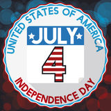 Round Label, Calendar and Reminder Date for American Independence Day, Vector Illustration Royalty Free Stock Image