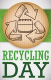 Recycled Cardboard Pin and Label with Doodles for Recycling Day, Vector Illustration. Round label in cardboard with recycling arrows around calendar, over green Stock Image