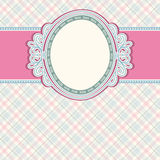 Round label on color checked background,  vector Royalty Free Stock Images