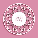 Round label with cutout paper border pattern. Round label with swirly ornamental border, cutout paper circle pattern, crochet lace mandala, template for laser vector illustration