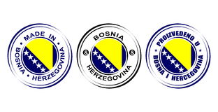 "Round label ""Made in Bosnia and Herzegovina"" with flag Royalty Free Stock Photo"