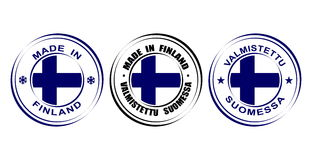 "Round label ""Made in Finland"" with flag. Round label Made in Finland with flag Royalty Free Stock Photography"