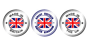 "Round label ""Made in Great Britain, United kingdom"" with flag Royalty Free Stock Image"
