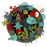 Round label pattern with  flora and fish. Round label pattern with fantastic flora and fish with crown. Vector illustration Royalty Free Stock Photo