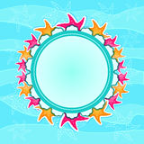 Round Label with Starfishes on Wave Background Stock Photo