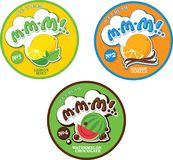 Round label or sticker for ice cream with fictitious name M-M-M!. Fruit ice cream logo label template Stock Photo
