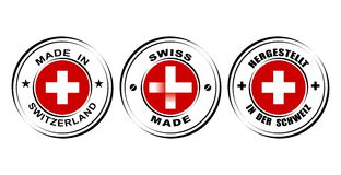 Round Label &x22;Made In Switzerland&x22; With Flag, &x22;Swiss Made&x22; With Watch Icon Royalty Free Stock Image