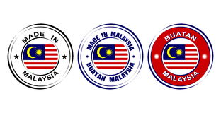 """Round labels """"Made in Malaysia"""" with flag. Round labels Made in Malaysia with flag Stock Photo"""