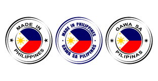"Round labels ""Made in Philippines"" with flag and Sun icon Stock Photography"