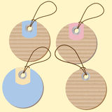 Round labels price tags with cardboard texture. Vector illustration Stock Photography