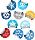 Round Labels with snowflakes Royalty Free Stock Images
