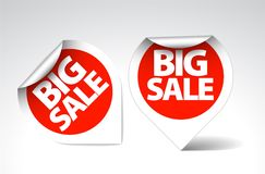 Round Labels / stickers for big sale. Red with white border Royalty Free Stock Image