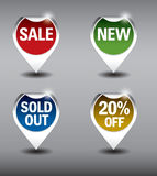Round Labels or stickers for sale, 20% off, new and sold out items. Eps10 Vector Format. Stock Photo