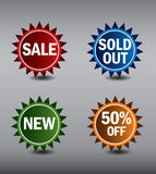 Round Labels or stickers for sale, 50% off, new and sold out items. Eps10 Vector Format. Stock Photos