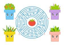 Round labirynt z postać z kreskówki Śliczny kwiatu garnek Ciekawi i rozwija gra dla dzieci Prostego mieszkania odosobniony wektor ilustracja wektor