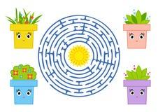 Round labirynt z postać z kreskówki Śliczny kwiatu garnek Ciekawi i rozwija gra dla dzieci Prostego mieszkania odosobniony wektor ilustracji
