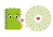 Round labirynt z postać z kreskówki Śliczny notepad z kędziorkiem Ciekawi i rozwija gra dla dzieci Prosty płaski isolat ilustracji