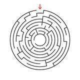 Round labyrinth. With the entrance and exit. An interesting game for children and adults. Simple flat vector illustration isolated. On white background Stock Photo