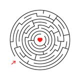 Round labyrinth. With the entrance and exit. An interesting game for children and adults. Simple flat vector illustration isolated. On white background Stock Photography
