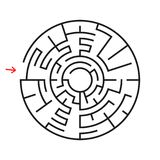 Round labyrinth. With the entrance and exit. An interesting game for children and adults. Simple flat vector illustration isolated. On white background Stock Image