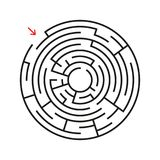 Round labyrinth. With the entrance and exit. An interesting game for children and adults. Simple flat vector illustration isolated. On white background Royalty Free Stock Photo