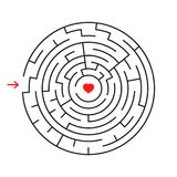 Round labyrinth. With the entrance and exit. An interesting game for children and adults. Simple flat vector illustration isolated. On white background Stock Images