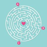 Round labyrinth maze game. Concept of love. Round labyrinth maze game, find your path to heart. Concept of love Stock Photography