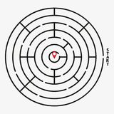 Round labyrinth maze game, find your path. Vector Illustration.  royalty free illustration