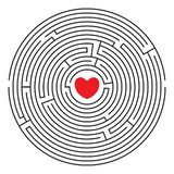 Round labyrinth with red heart. Round labyrinth maze with red heart and two enters. Find your love. Find the way. Relationship. Happy Valentine`s day card vector illustration