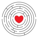 Round labyrinth with red heart. Round labyrinth maze with red heart and two enters. Find your love. Find the way. Relationship. Happy Valentine`s day card stock illustration