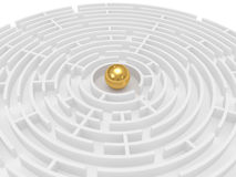 Round labyrinth on a white background Royalty Free Stock Photography