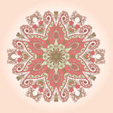 Round lace. Abstract ornamental circle with vintage floral elements. Round lace Stock Photo