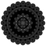 Round lace black white doily. Stock Photography
