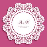 Round lace doily with cutout border pattern. Template for laser cutting, ornamental circle decoration for wedding invitation card stock illustration