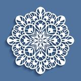 Round lace doily, cutout paper pattern. Round lace doily, decorative snowflake, cutout paper pattern, mandala, openwork circle ornament for laser cutting or wood stock illustration