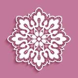 Round lace doily, cutout paper pattern. Decorative snowflake, ornamental circle mandala stock illustration