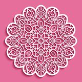 Round lace doily, cutout paper pattern. Ornamental circle mandala, template for laser cutting stock illustration