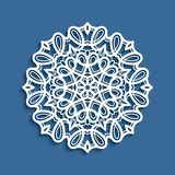 Round lace doily, cutout paper pattern. Round lace doily, decorative snowflake, cutout paper pattern, mandala circle ornament, suitable for laser cutting or wood Stock Images