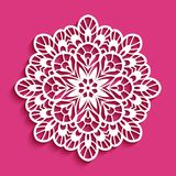 Round lace doily, cutout paper pattern. Round lace doily under cake, decorative snowflake, cutout paper pattern, mandala circle ornament, template for laser stock illustration