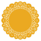 Round Lace Doily, Gold Royalty Free Stock Images