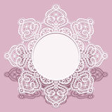 Round lace doily, invitation card design Stock Image
