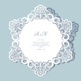 Round lace doily. Round paper lace doily, greeting card, save the date or wedding invitation template vector illustration