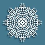 Crochet lace doily, cut out snowflake pattern. Round lace doily under cake, vintage crochet ornament, cut out paper decorative snowflake, mandala circle pattern stock illustration