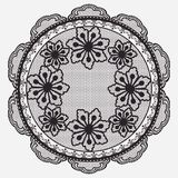 Round lace floral napkins in monochrome silhouette. Vector illustration Stock Photos