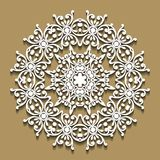 Round lace frame on beige background. Template for wedding or gr. Eeting card. Decorative element, EPS 8 Royalty Free Stock Images