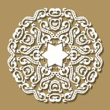 Round lace frame on beige background. Template for wedding or gr. Eeting card. Decorative element, EPS 8 Royalty Free Stock Photo