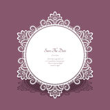 Round lace frame, save the date card template Stock Photos